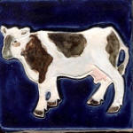 Cow standing 2 cobalt blue and white