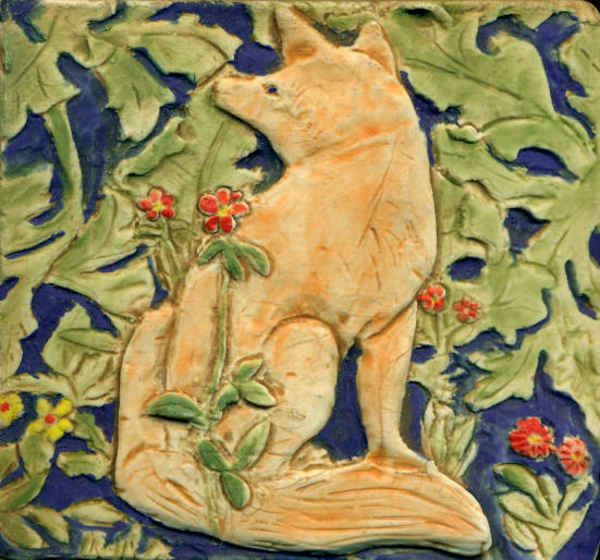 William Morris Fox tile from the Forest Tapestry
